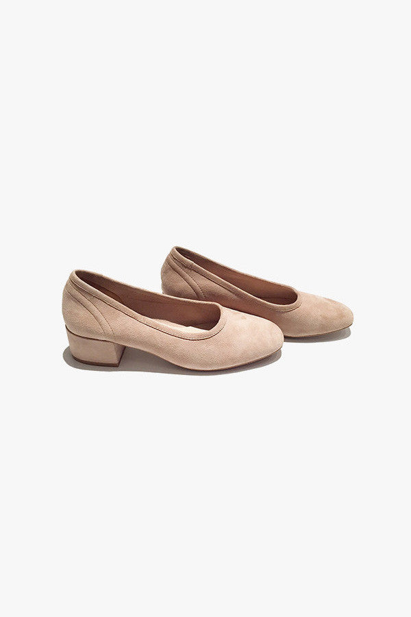 Suede Low Heel Pump