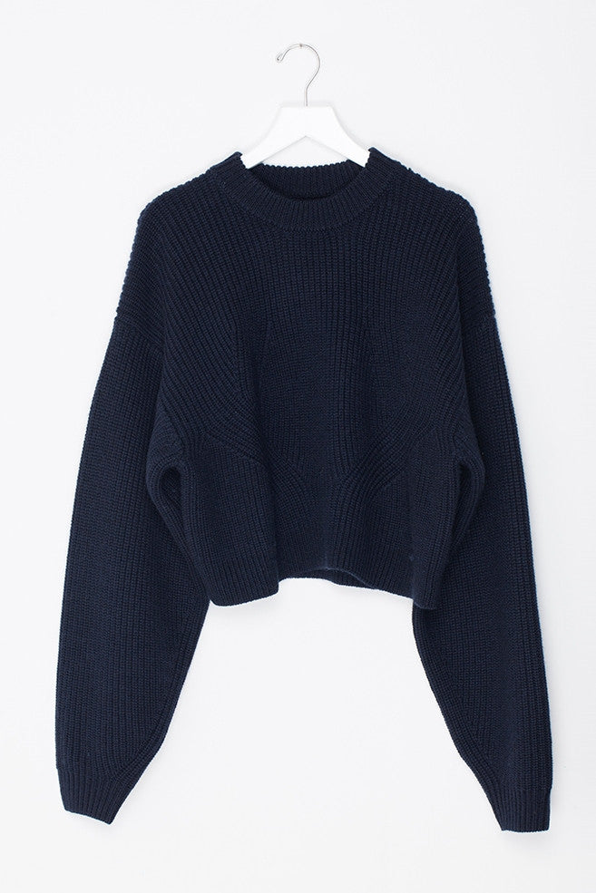 Oversized Sleeved Crop Wool Sweater