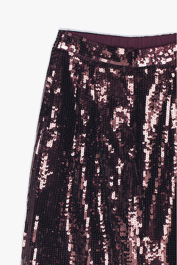 Wide Leg Crop Sequin Pants