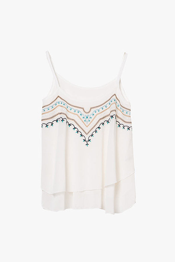 Embroidered Sleeveless Tank