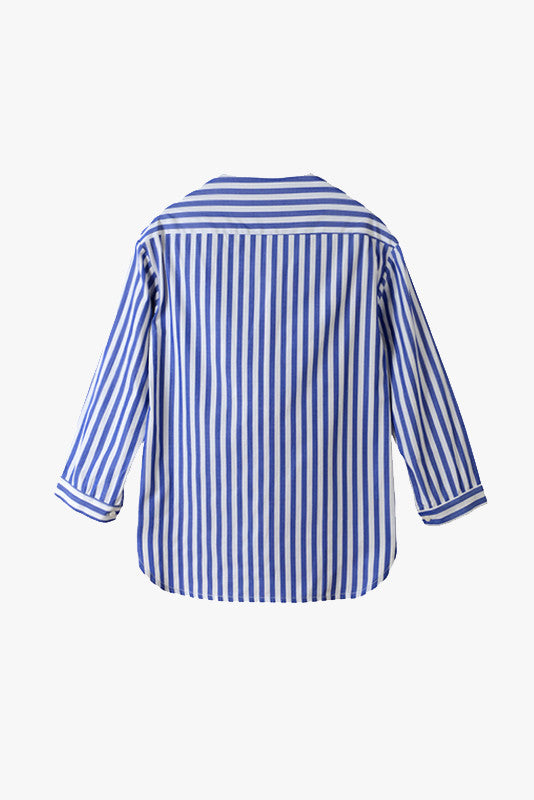 Striped Drap Neckline Blouse