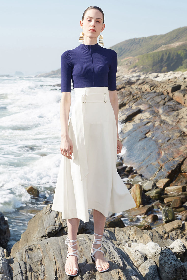 High Waist Belted A Line Midi Skirt