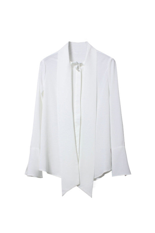 Chiffon Bow Tie Collar Blouse