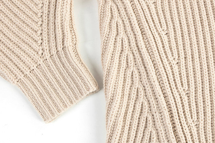 Knit High Collar Wool Sweater