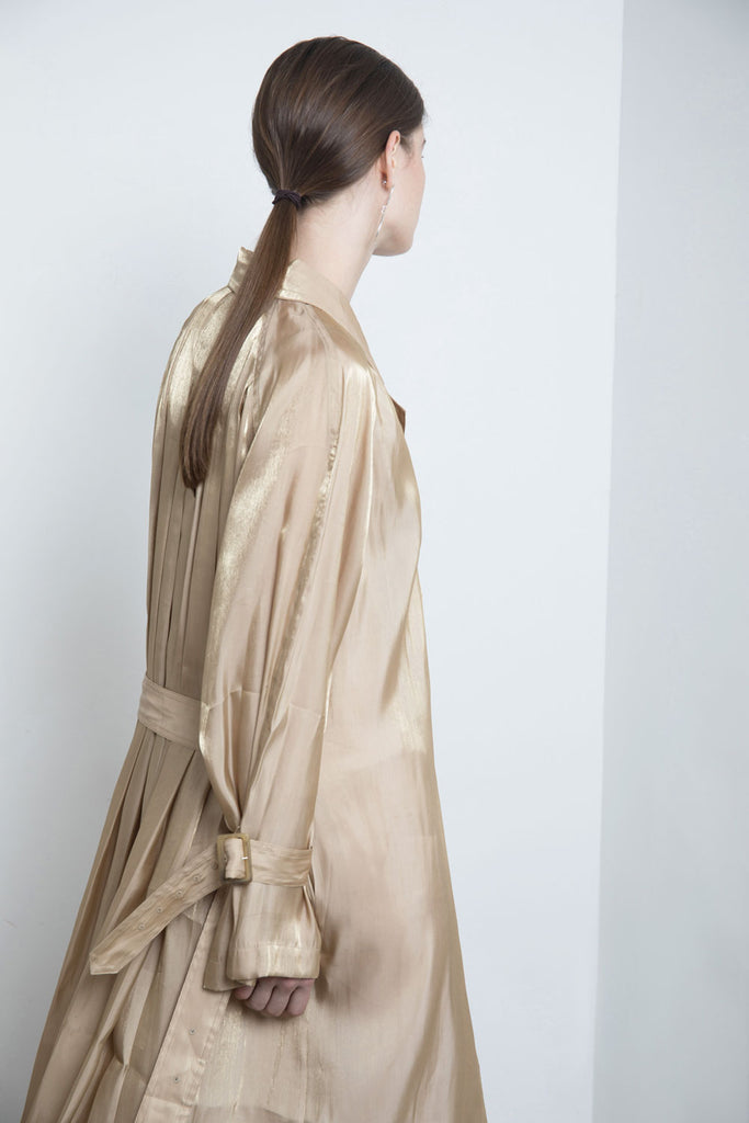 Pleated Back Trench Coat