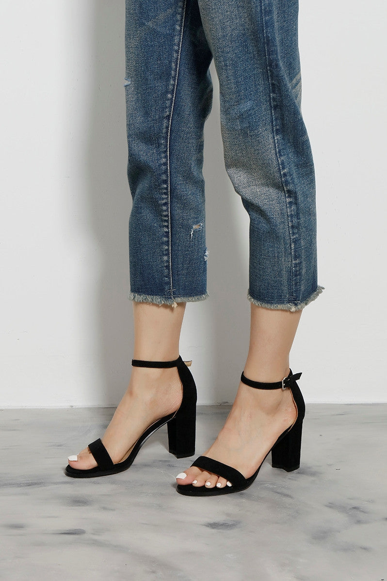 Suede Block Heel Sandals