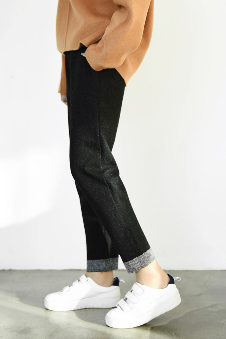 Cropped Wool Cotton Blend Pants