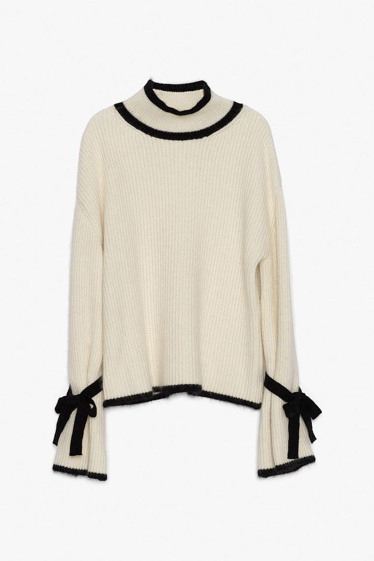 Cropped Cashmere Bell Sleeve Knit Sweater