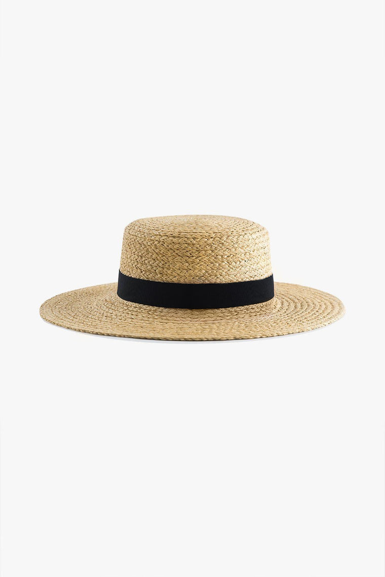 Soft Straw Boater Hat with Bow