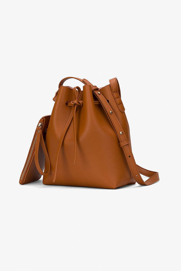 Faux Leather Crossbody Bucket Bag