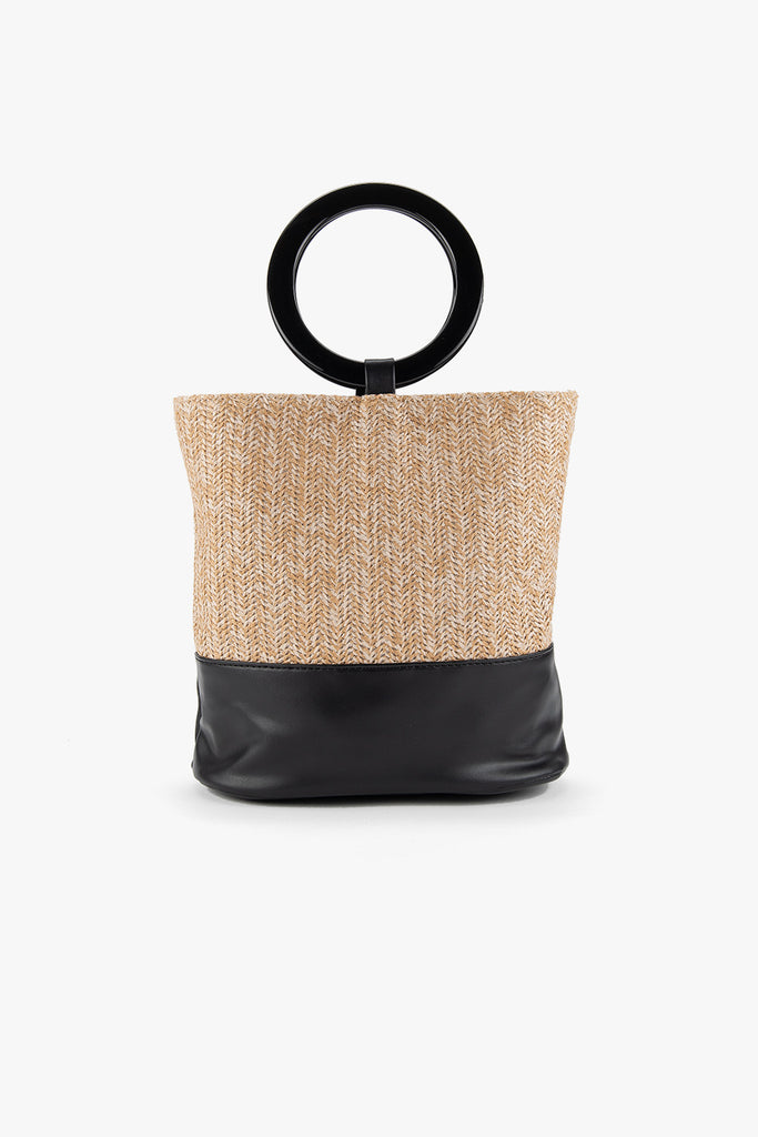 Faux Leather Straw Bucket Bag