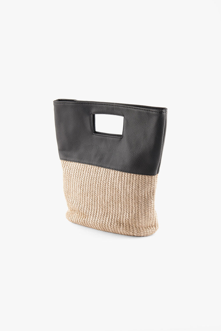 Mini Faux Leather Raffia Tote