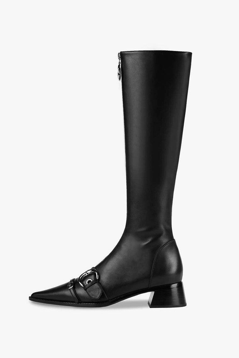 Buckle Leather Knee Boots