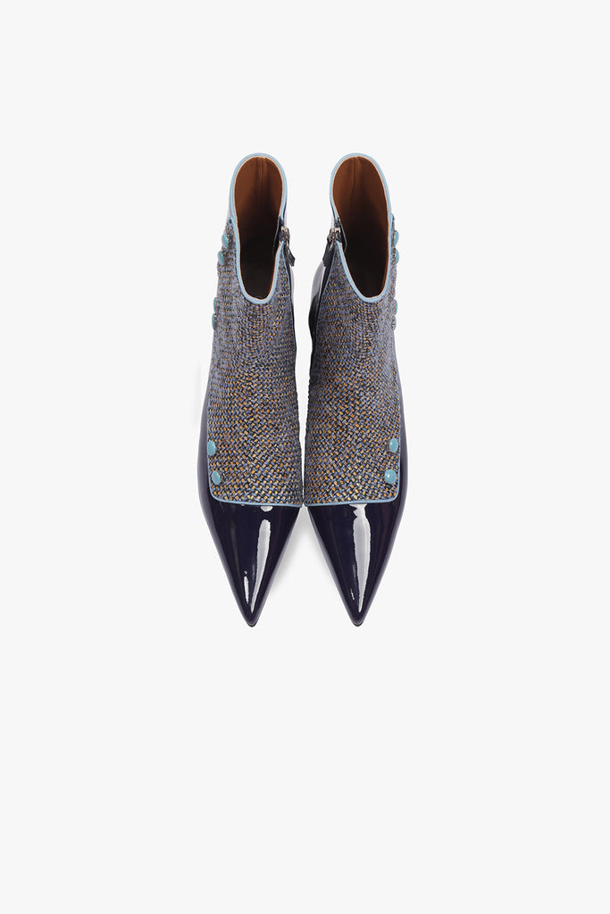 Patent Leather Tweed Pointed Boots