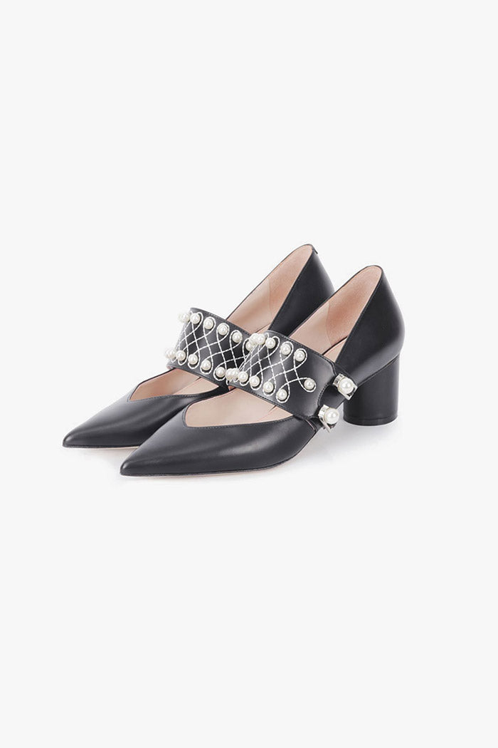Leather Pearls Pointed Low Heel Pumps