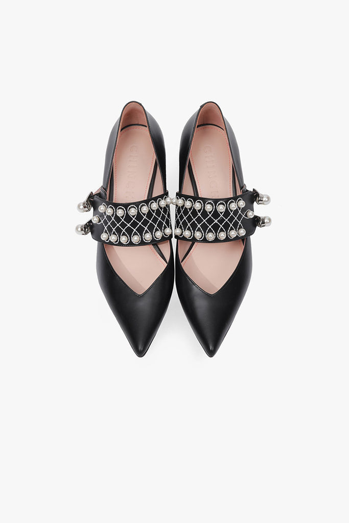 Leather Pearls Pointed Pumps