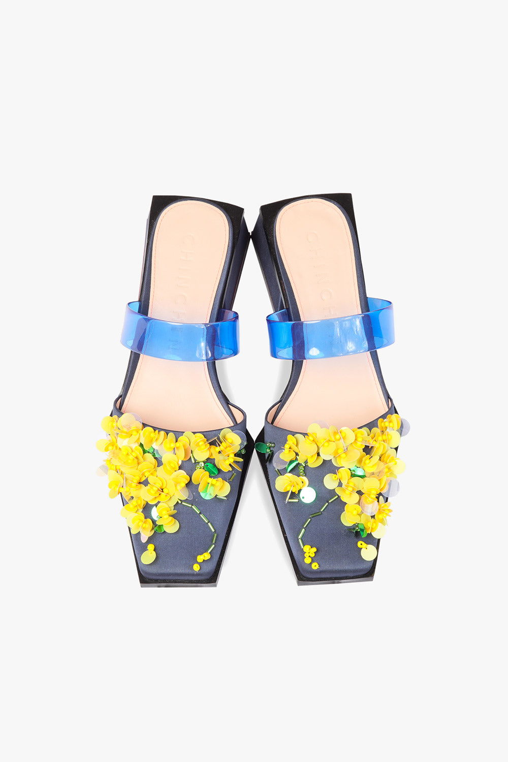Floral Sequins Low Heel Mule Sandals