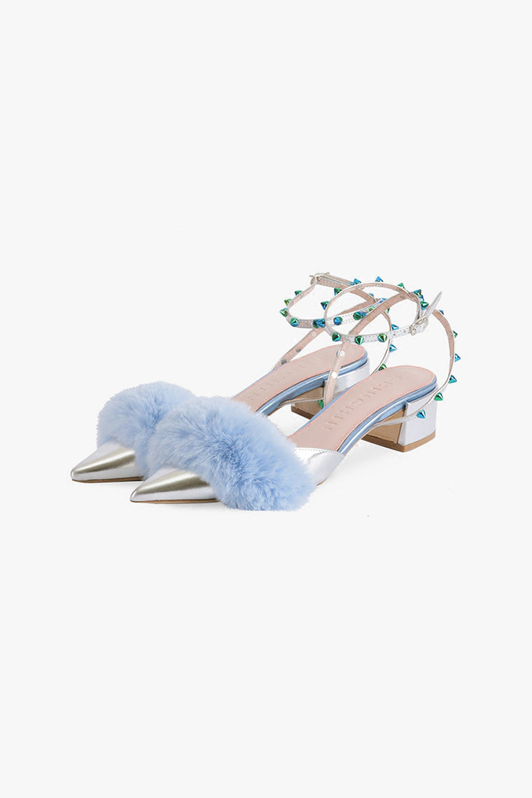 Faux Fur Blue Rivet Sandals
