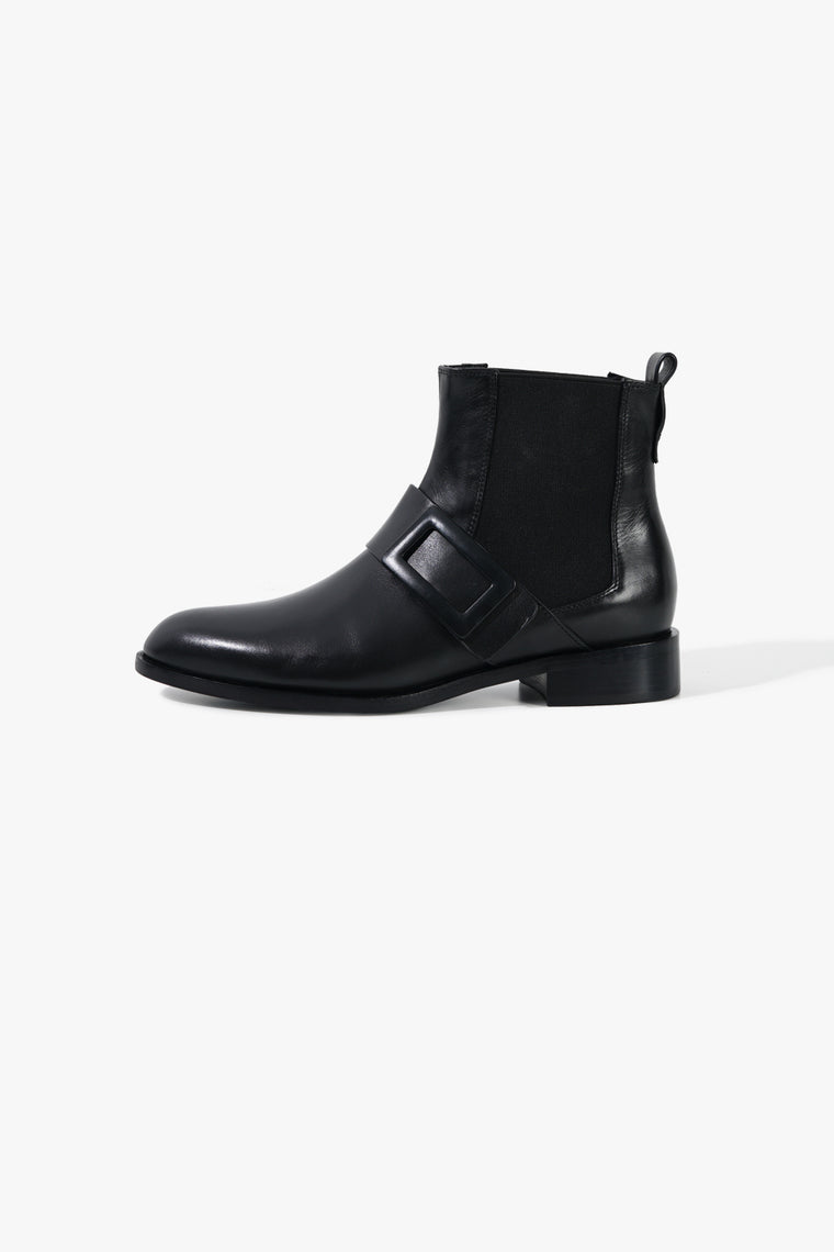 Short Leather Round Chelsea Boots