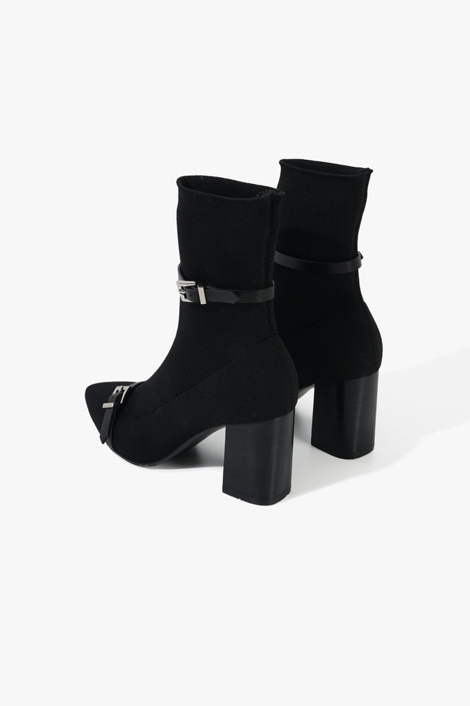 Pointed Knitted Buckle Boots