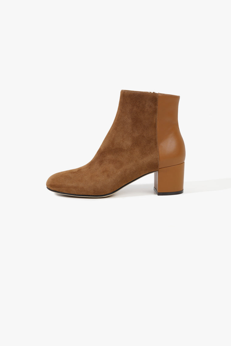 Half Leather Half Suede Short Boot
