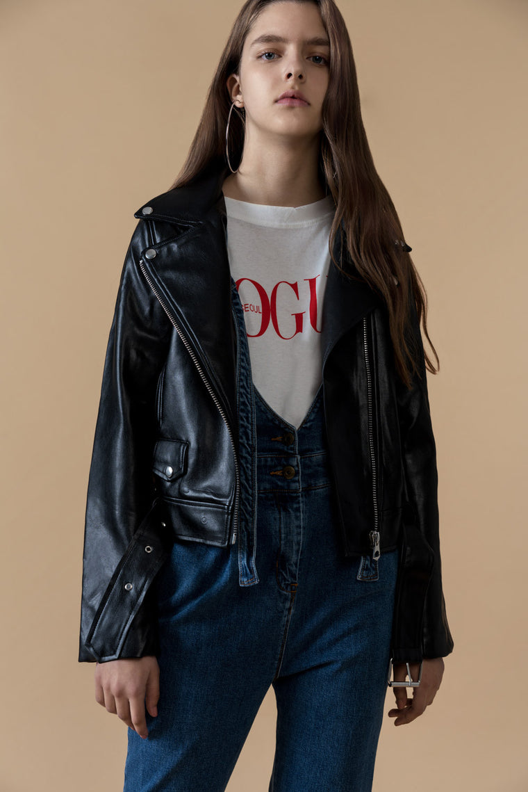 Heavy Faux Leather Moto Jacket