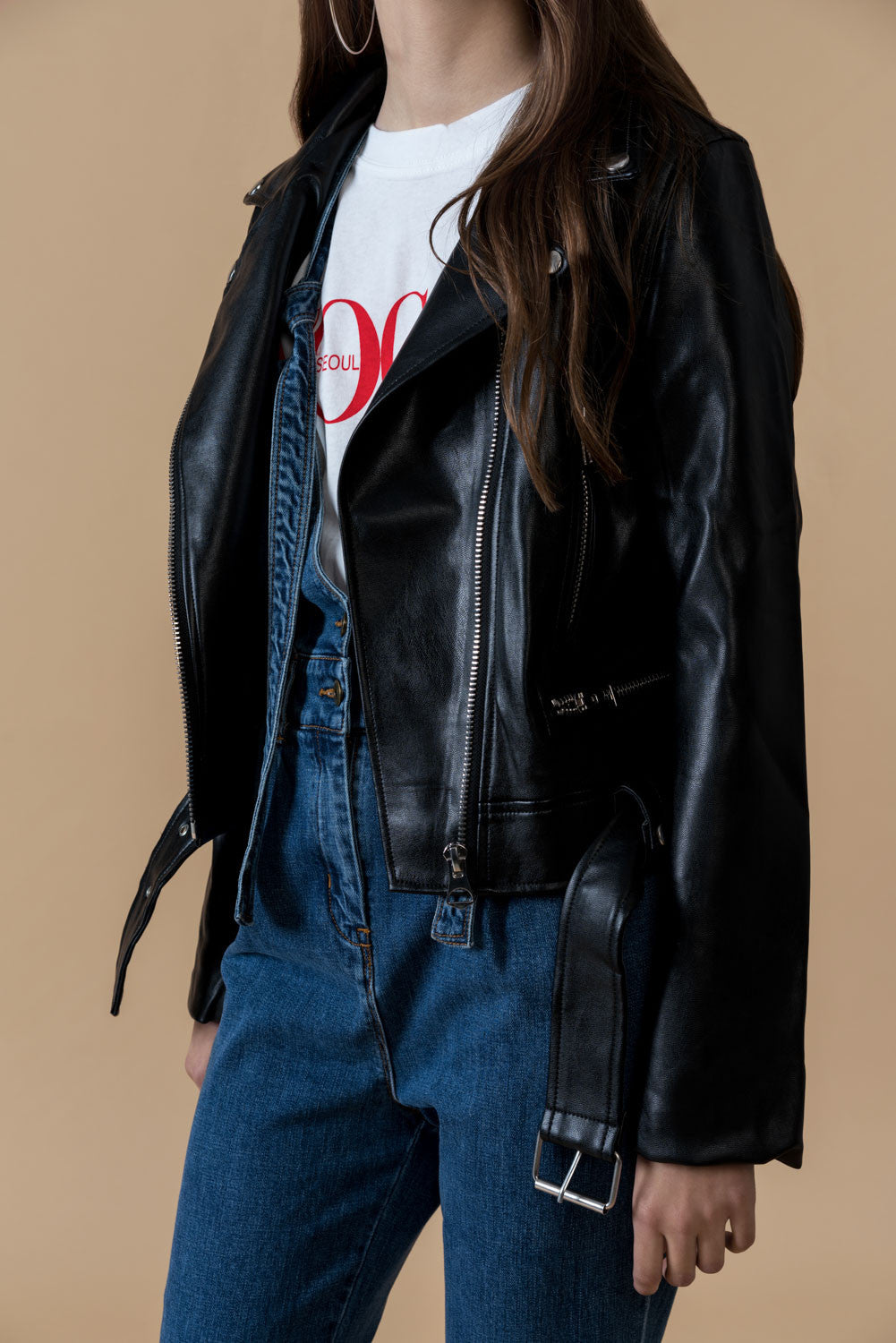 Faux Leather Zipped Moto Jacket