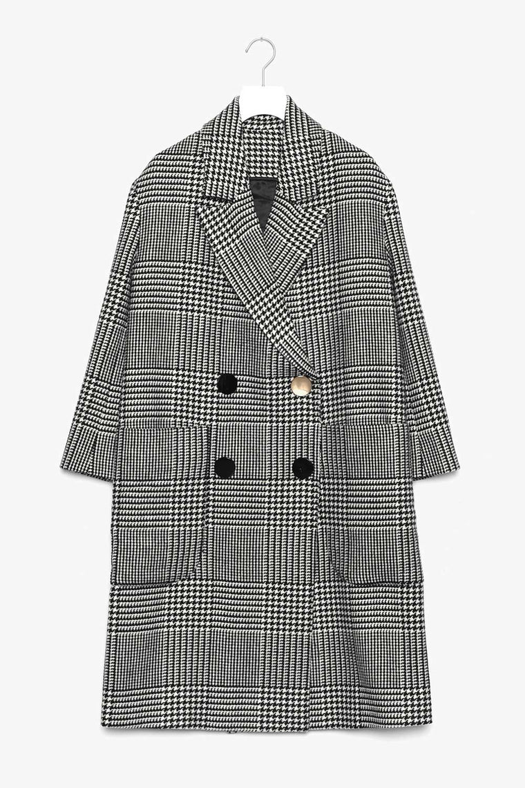 Oversized Double Breasted Plaid Wool Coat
