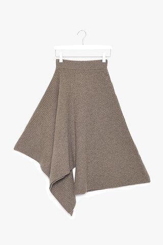 Asymmetrical Ribbed Knit Cashmere Skirt