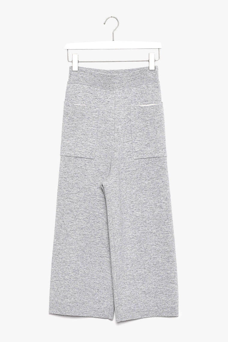High-Rise Wool Cashmere Wide-Leg Crop Pants