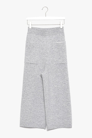 Wide Leg Cropped Wool Cashmere Blend Pants
