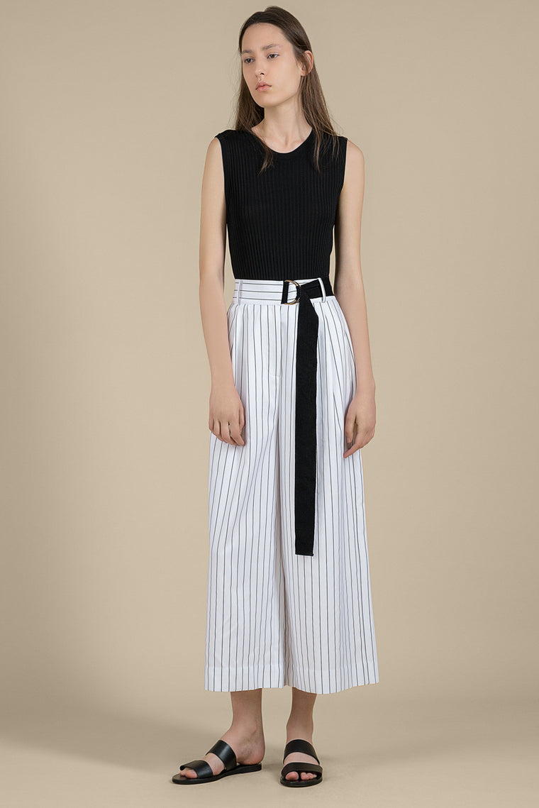 Belted Striped Linen Viscose Crop Pants