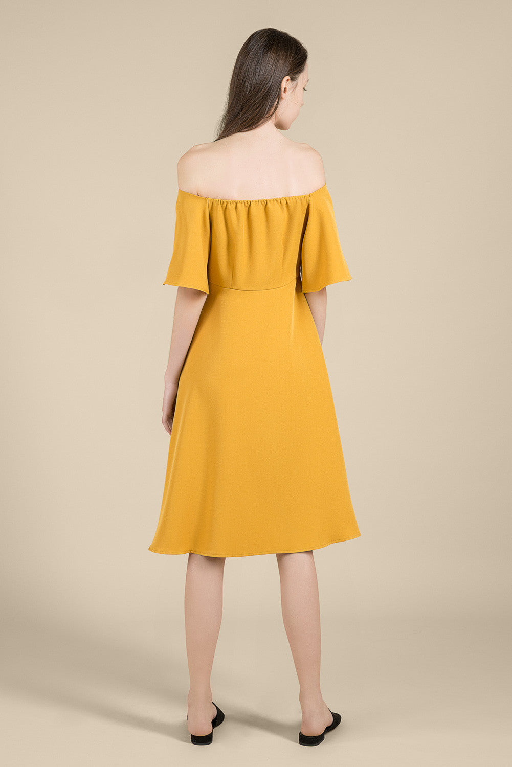 Bell-Sleeved Midi Dress