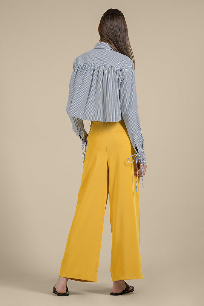 Yellow Wide Leg Belted Pants