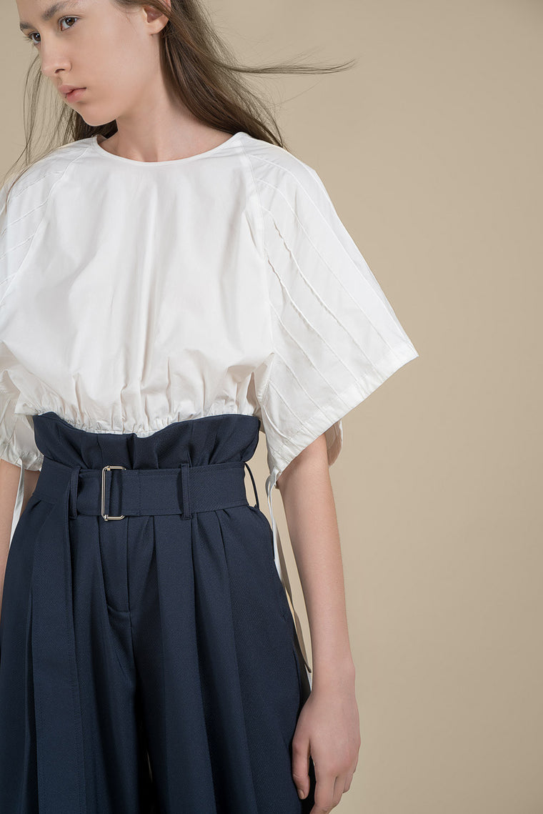 Wide Sleeves Crop Cotton Blouse