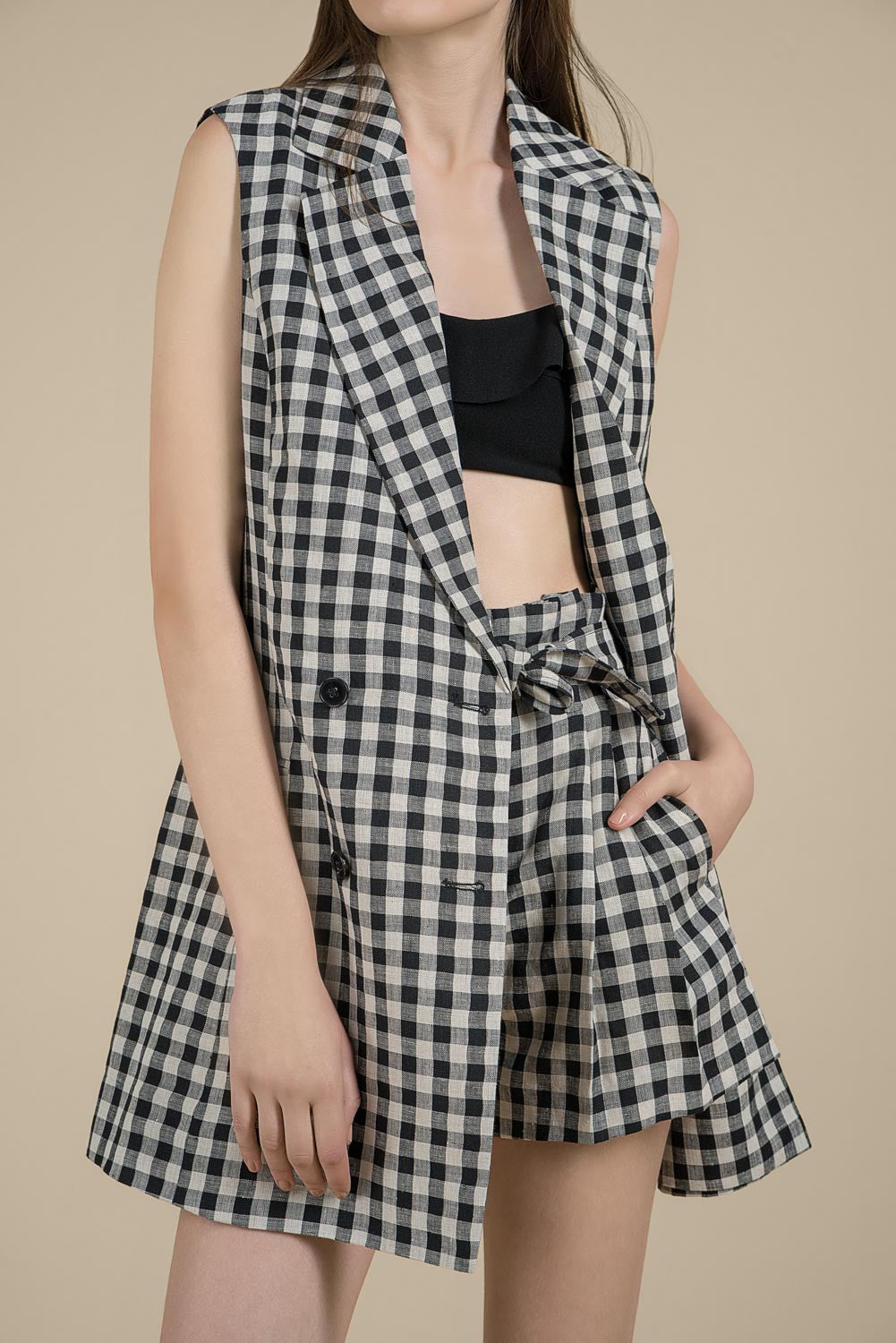 Gingham Check Long Vest