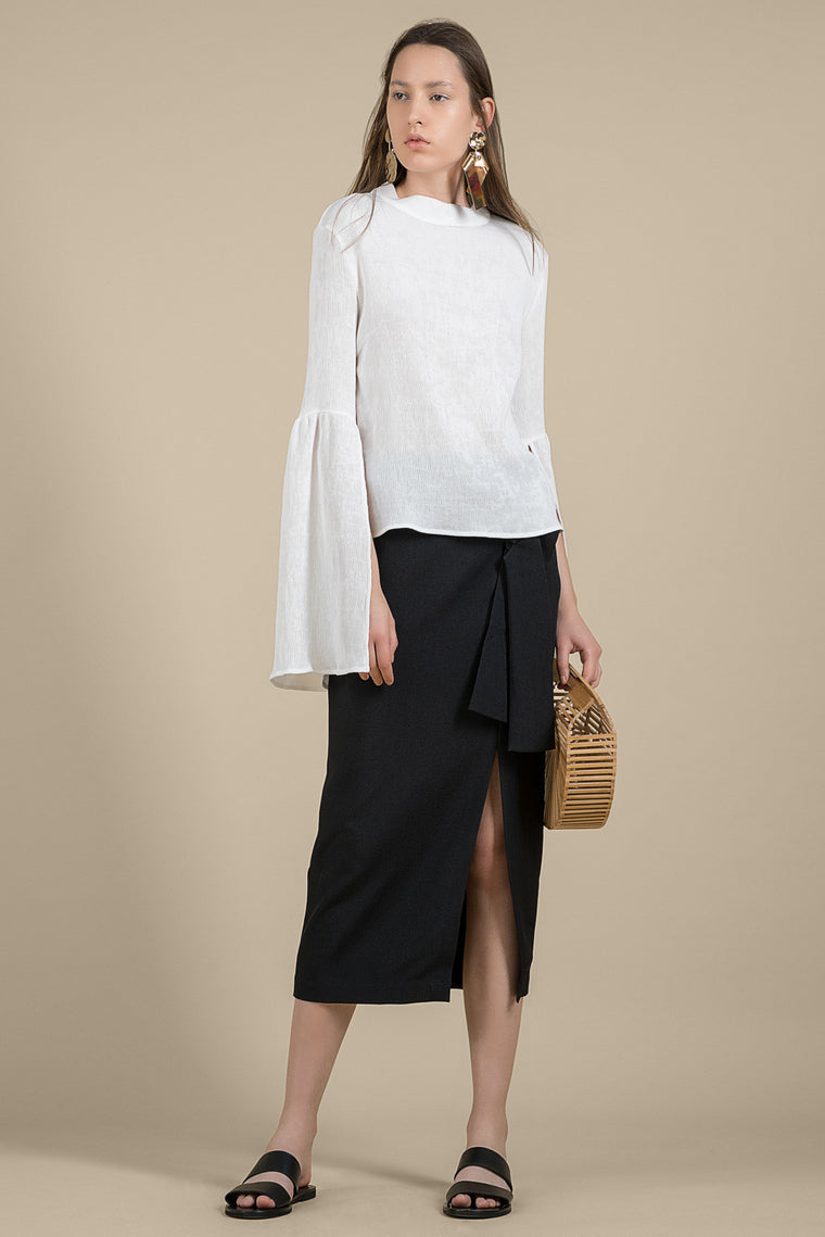 Bell-Sleeved Pleated Blouse