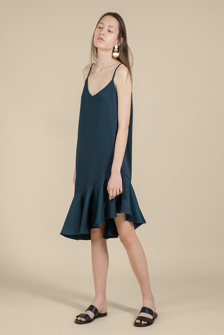 Midi Slip Dress with Ruffles