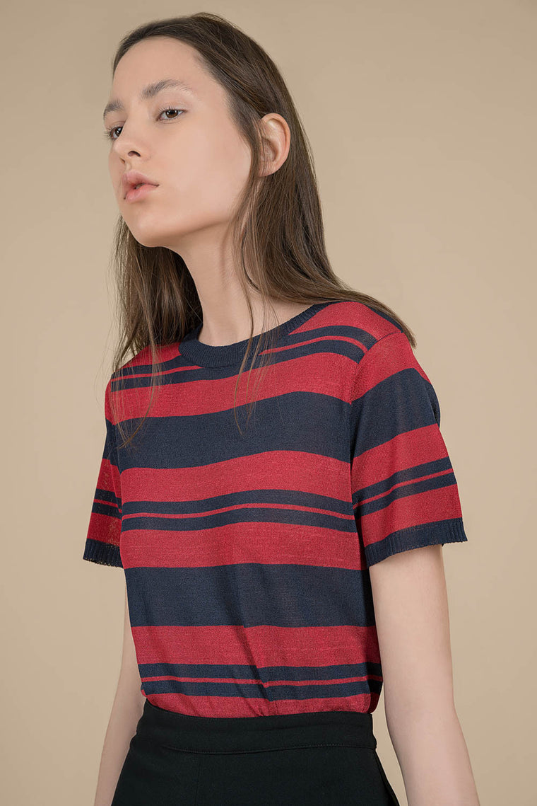 Sheer Stretch Knit Striped Top