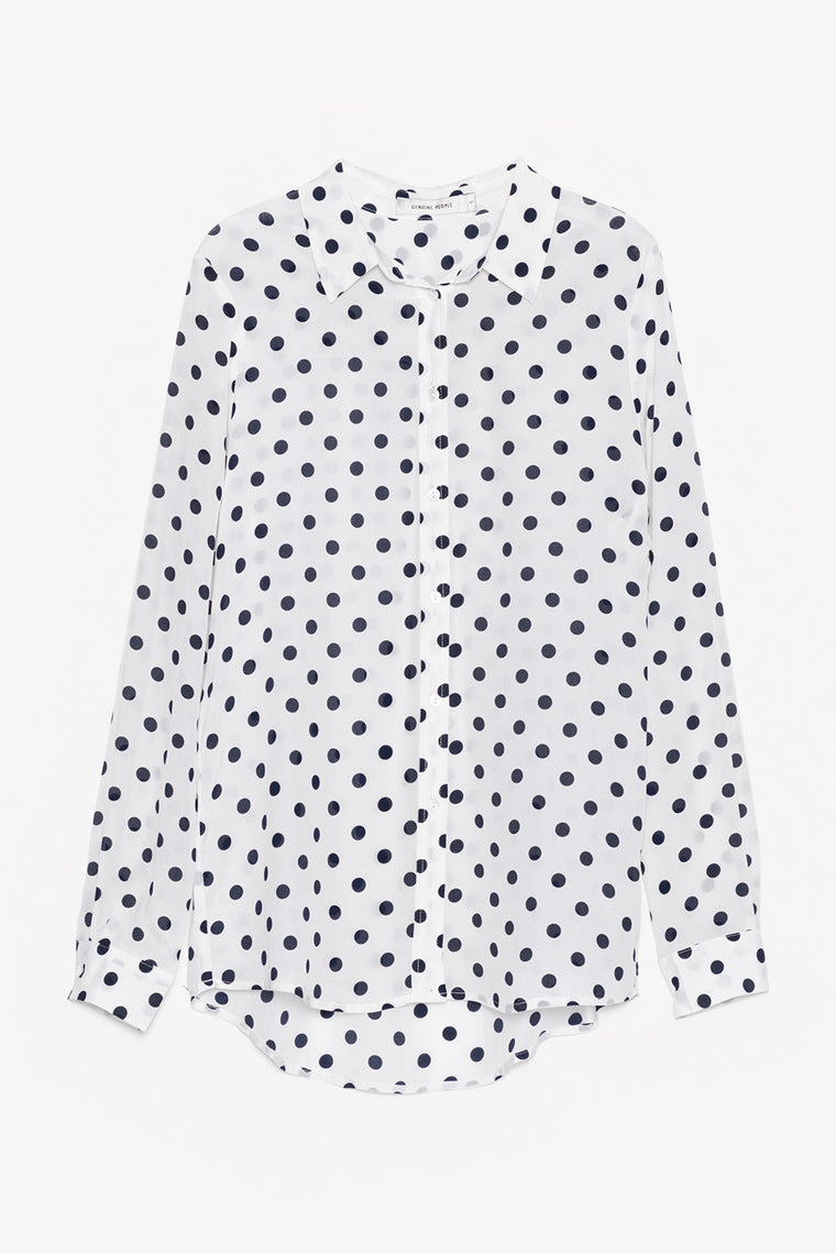Silk Polka Dot Button Down Blouse