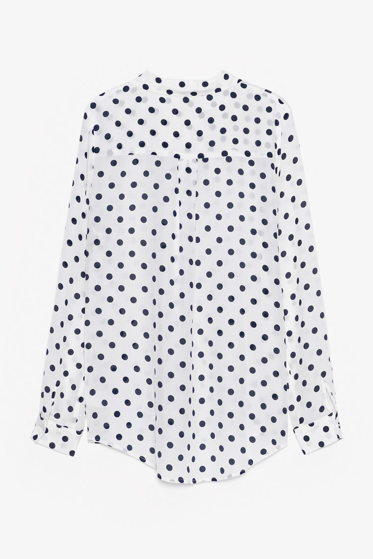Polka Dot Print Silk Shirt