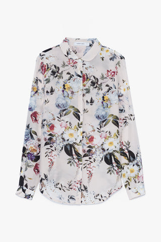 Floral Sheer Silk Blouse