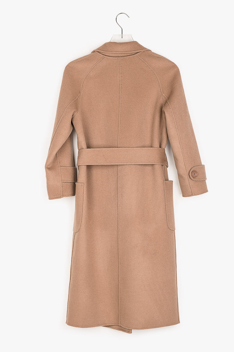 Oversized Belted Wrap Wool Coat