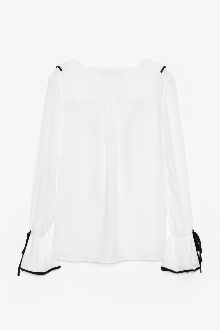 Long-Sleeve Ruffle Front Blouse