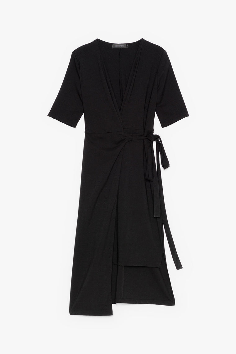 Asymmetric V-Neck Wrap Dress