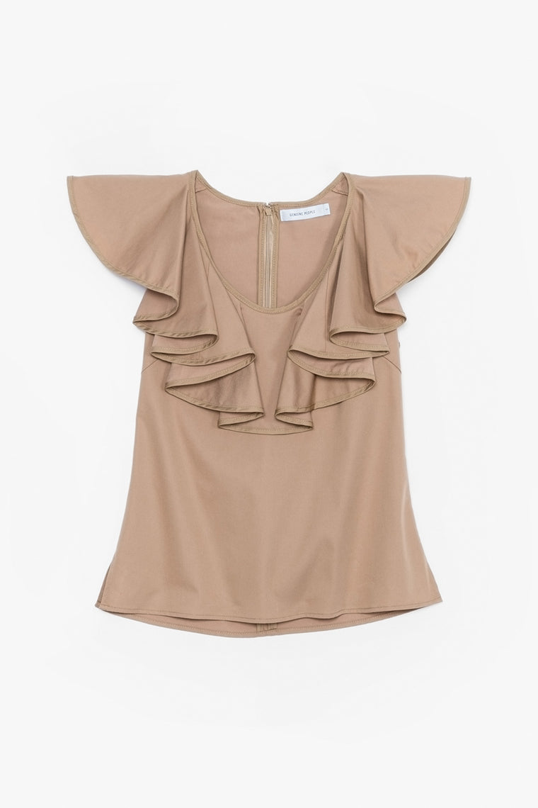 Sleeveless Ruffle Collar Top
