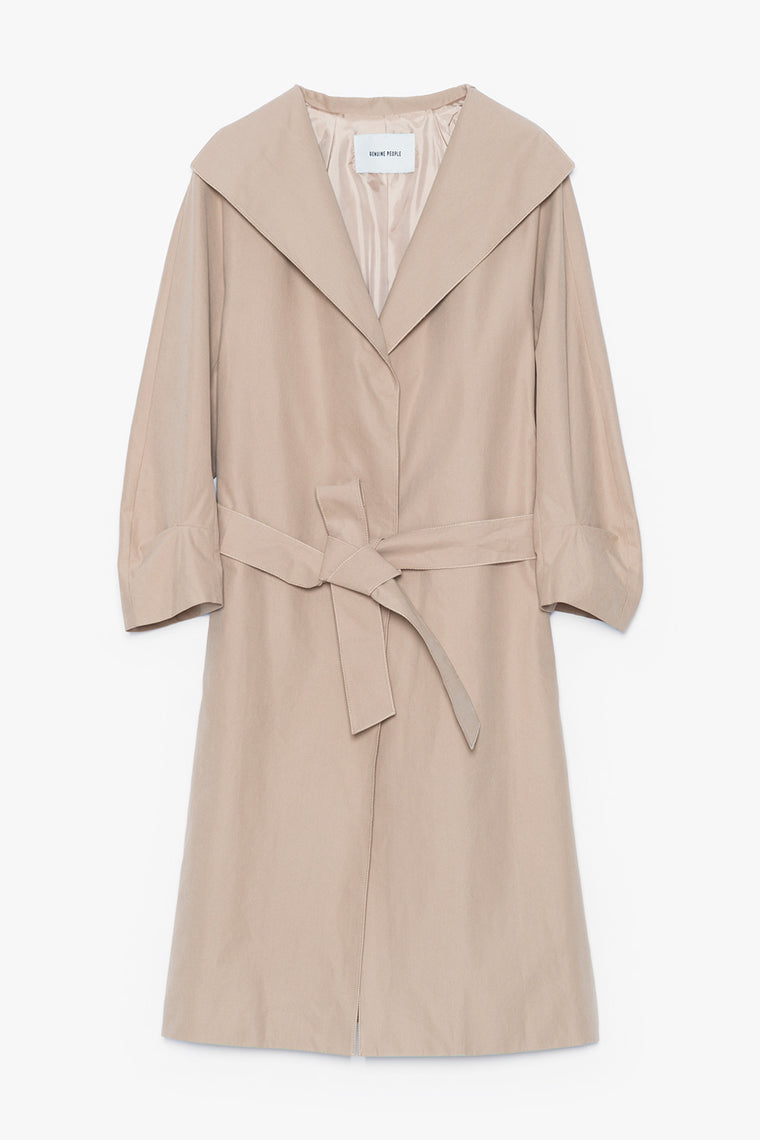 Wide Collar Belted Cotton Trench Coat