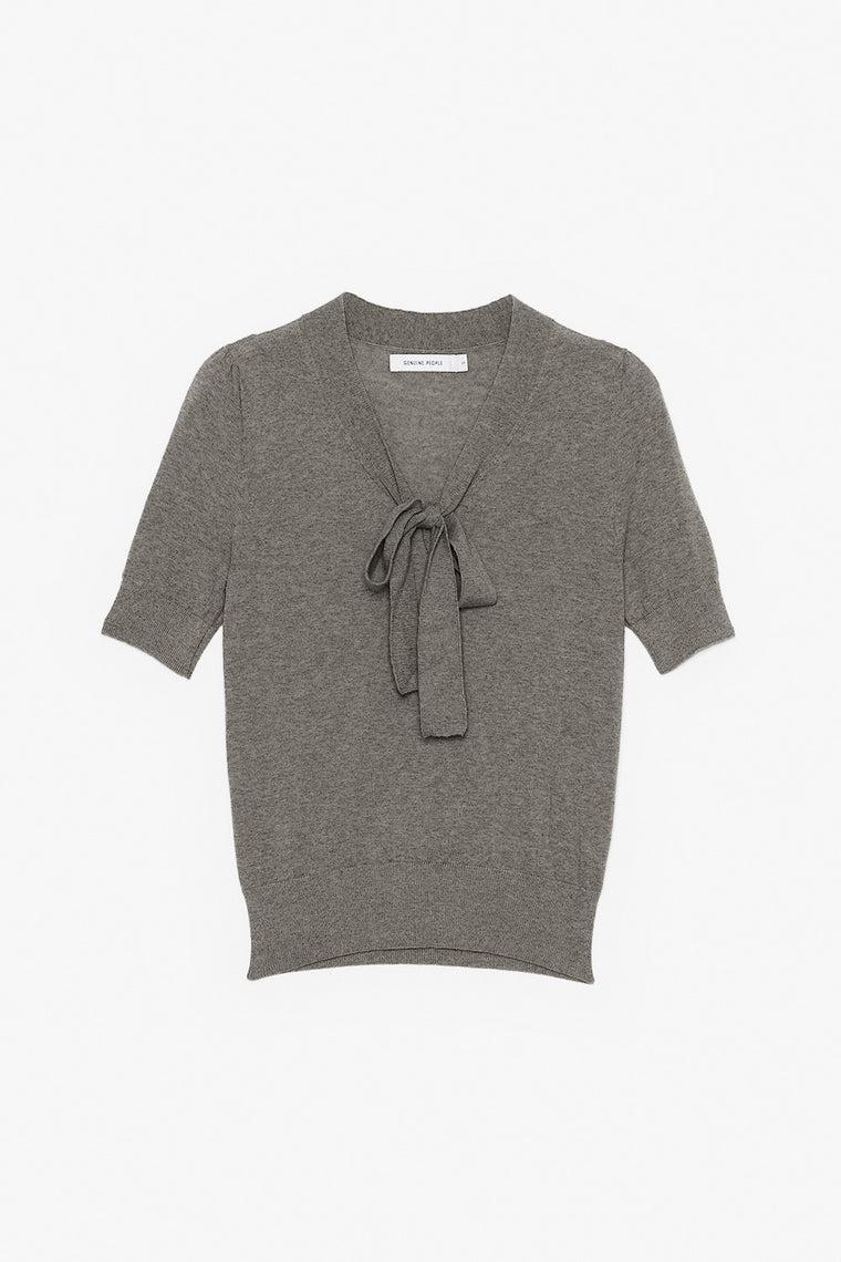 Short-Sleeve Wool Sweater with Bow Tie