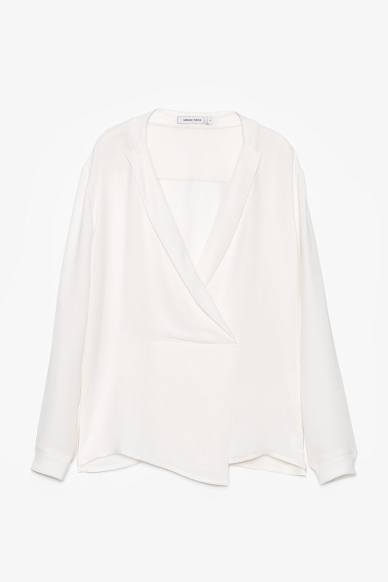 Long-Sleeve Silk V-Neck Blouse