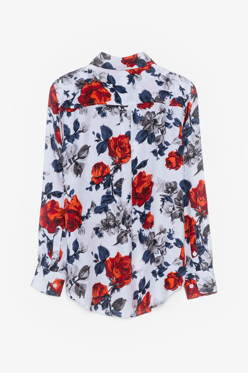 Silk Floral Print Button Down Blouse